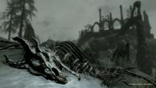 A dragon's soul can only be devoured by the Dragonborn. Here lies one, defeated.