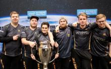 Fnatic pose backstage with their new silverware (left to right): JW, flusha, Golden, KRIMZ, lekr0, & pita