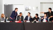The cast of It: Chapter 2 at a table read.