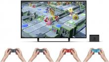 Four joycons for 4 players who play Super Mario Party