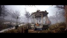 Of all the destroyed buildings within the city, somehow the gazebo remains standing.
