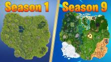 How much the Fortnite map has changed from Season 1 to Season 9.