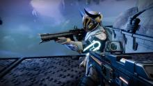 A player looking at their friend who has the Corsair's Wrath linear fusion rifle.