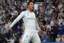Cristiano Ronaldo scores a goal in front of his home crowd in FIFA 18 and celebrates