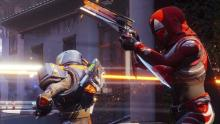 A Hunter takes on enemies in the Crucible with their Sunshot hand cannon.
