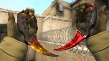 Two knives on display in Counter Strike screen illustration