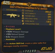 This anointment was only available during the Revenge of the Cartels event. It shoots out a cyberspike that decimates any shielded enemies close by. It's not anywhere in the meta at all, but it's definitely a cool anointment.