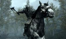 A member of the Dawnguard riding into battle on a horse.