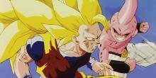 Goku battling Kid Buu