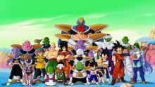 Various characters standing together from Dragon Ball Z.