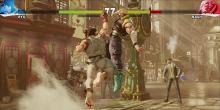 Ryu lands an uppercut blow on Nash in the heat of battle