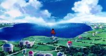 Goku flying over DBZ's world