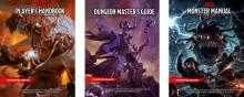 The D&D 5e core rulebooks. Featuring a sleek modern design.