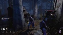 Meg tries to sneak undetected by crouching but runs into the Killer.
