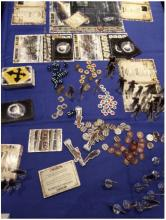 The contents of the Dead of Winter game box