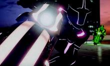Bright lights! Close up as a Shotaro rider focuses while an opponent comes up on the side