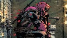 Deadpool in a hail of gunfire during a bathroom break