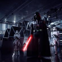Darth Vader marches into battle with his Stormtroopers.
