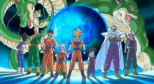 Goku, Krillin, Vegeta, Picolo and others guard Earth