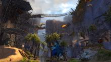 Located as part of the Path of Fire expansion, this location in the Crystal Oasis shows the level of detail that is found in the game.