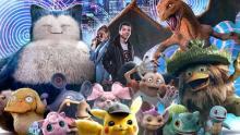 The cast of the film Pokémon Detective Pikachu.