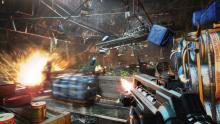 Adam Jensen fights against enemies in an impressive setpiece battle for Deus Ex