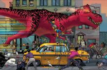 Devil Dinosaur tearing his way through the streets of NYC.