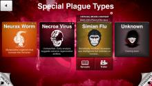A look at some of the special plagues offered by Plague Inc.