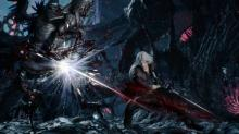 Dante slashes his sword against a giant demon in Devil May Cry 5