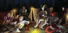 A DnD party sits and relaxes by the fire after a long day of adventuring.