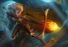 Drawing her bowstring, an elven ranger prepares to shoot a fiery arrow in the shape of an eagle.