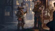 A bard attempts to smooth talk his way past an unimpressed bouncer into a private party.