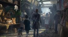 A fighter and his smaller companion stroll through the alleys of the marketplace.
