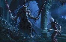 A brave adventurer stares down a death knight