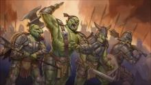 Orcs charge into battle.