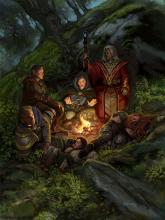An party of adventurers takes it easy in the woods for the night.