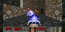 Classic Doom fights against one of the enemies in the classic game