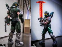Here's one cosplayer (credit to @UWCosplay) that went above and beyond, making both a badass Doomslayer and his deadly Crucible.