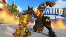 Doomfist finishes his seismic slam showing off his golden doomfist
