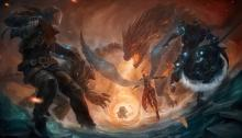 The team battles against the dragon, hoping to add its power to their own.