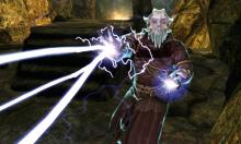 A cloaked Cultist attacking the dragonborn with spells.