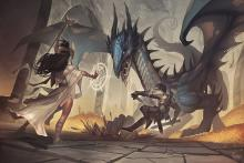 This mage faces down a dragon! Look at all those teeth