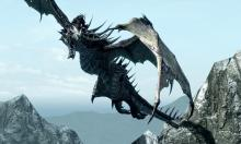A dragon flying high over mountains.
