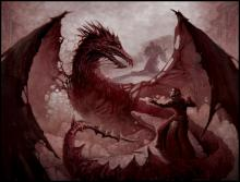 Dragon Age mage fighting an Archdemon