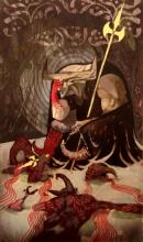 Iron Bull weeping over Qunari corpses