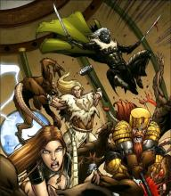 Drizzt Do'Urden and the Companiosn of the Hall leap into battle.
