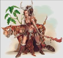A druid stands with her animal companion, a large tiger.
