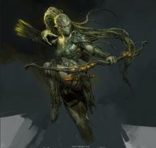 An angry dryad jumps into action with he favorite bow.
