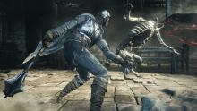 Fight against forces in an almost medieval setting in Dark Souls III.