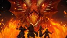 A party comes across a red dragon while venturing on their quest.